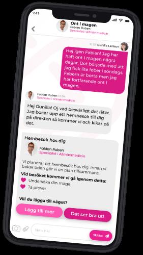 Hälsa Hemma chatt i mobilen